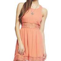Floral Lace Inset Tank Dress | Wet Seal