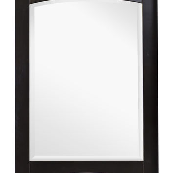 24-in. W x 34-in. H Transitional Birch Wood-Veneer Wood Mirror In Distressed Antique Walnut