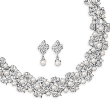 Bridal Necklace White Imitation Pearl & Earring Set