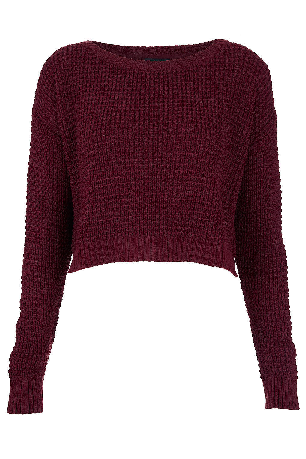 Cropped Jumper Knitting Pattern : Knitted Textured Crop Jumper - Knitwear - from TOPSHOP Epic
