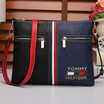 """Tommy Hilfiger"" Trending Casual Personality Fashion Multicolor Single Shoulder Messenger Bag For Women G"