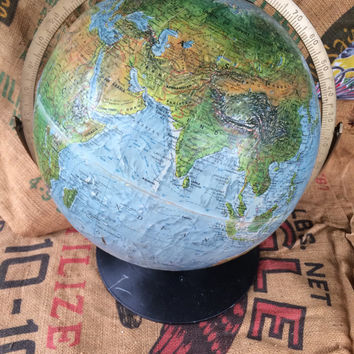 "Replogle World Globe Land and Sea 12"" Raised Moutains"