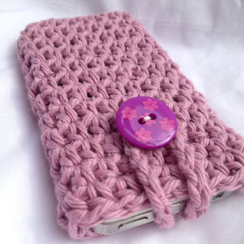 Crochet Purple Cell Phone Case Cozy holder by Parachet on Etsy
