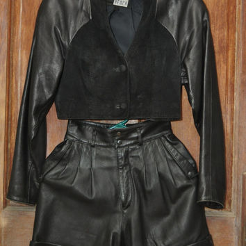 Vintage Crop Jacket & Shorts Black Leather and Suede 80s Michael Hoban North Beach Small Hotpants Biker Wear Rocker XS