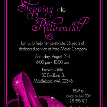 Pink Glitter Shoes Retirement Party Invitation - Printable Retirement Invitations