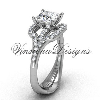 "Platinum diamond  engagement ring, Princess cut ""Forever One"" Moissanite center stone VD10033"