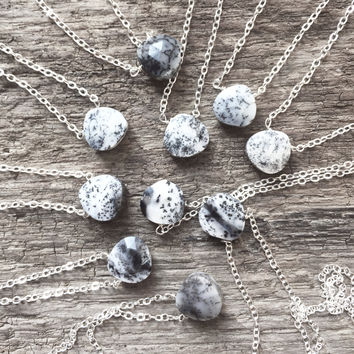 "#Mixed / Grays - Random -  Dendritic Opal 18"" Sterling Chain - Flash Sale Pricing"