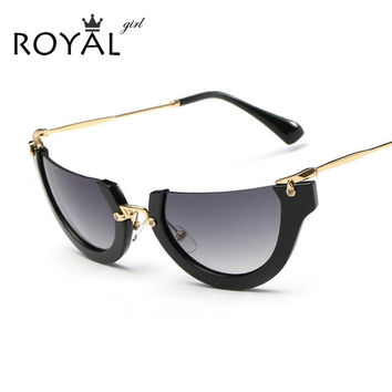 ROYAL GIRL New Metal Exaggeration Semi Rimless Cat Eye Sunglasses Ladies Brand Vintage Trend Glasses Women UV400 gafas sol ss449