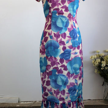 Vintage 1960s Hawaiian Floral Print Dress
