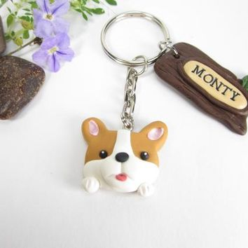 Corgi Keychain Personalized custom keychain key chain ring Pembroke Welsh corgi gifts name tag dog lover gifts dog polymer clay cute unique
