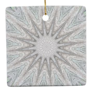 Kaleidoscope Design Rustic Light Gray Colors Ceramic Ornament