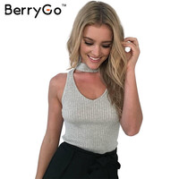 BerryGo Sexy knitted halter camisole tank top Sexy v neck sleeveless black crop top women Elegant cropped beach summer tops 2016