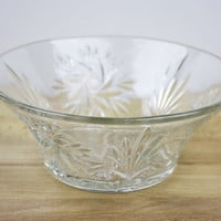 Serving Bowl, Glass Bowl, Fruit Bowl, Trifle Bowl, Patterned Glass, Floral Pattern, Dinner Table, Traditional Tableware - 1940's / 1950's