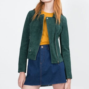 Suede Leather Long-Sleeve Zipper Collared Jacket