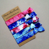 The America Tie Dye Hair Tie-Ponytail Holder Collection - 5 Elastic Hair Ties