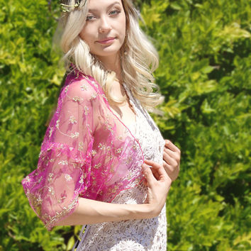pink beaded tulle shrug