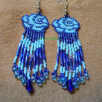 Blue Brickstitch Rose earrings
