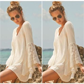 Loose Relaxed White Tunic Style Bikini Cover-up