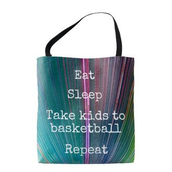 """Eat Sleep Repeat, Basketball"" quote teal tote bag"