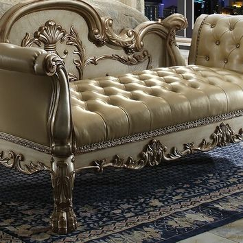 Acme 96488 Dresden gold patina finish wood bone faux leather button tufted bench