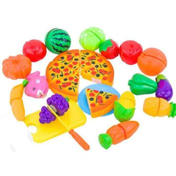 DCCKL72 2016 New 24PCS  Pretend Food Miniature Play Classic Kitchen Toys Plastic Cutting Fruits and Vegetables Set with Pizza Play Food