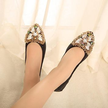 Butterfly Pointed Close Toe Oxford Rhinestone Flats