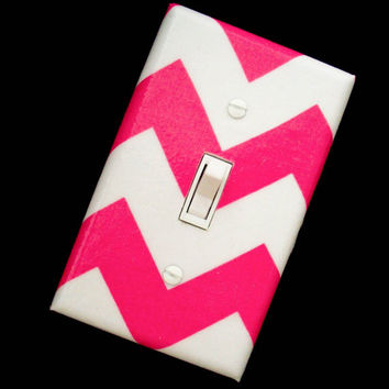 Chevron Light Switch Cover Pink and White / Zigzag Pattern / Switchplate / Switch Plate