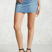 Raw-Cut High-Low Denim Skirt