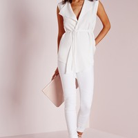 Missguided - Tie Wrap Blouse White