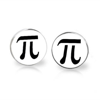 Pi symbol black white Cufflinks can be customized with your own photo logo wedding ships from USA made superhero best man groom