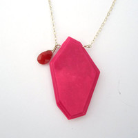 Pink and red geometric necklace, hot pink pendant, red jade necklace, sterling silver jewelry, contemporary pendant, lightweight jewelry