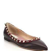 Valentino - Rockstud Colorblock Leather Flats - Saks Fifth Avenue Mobile