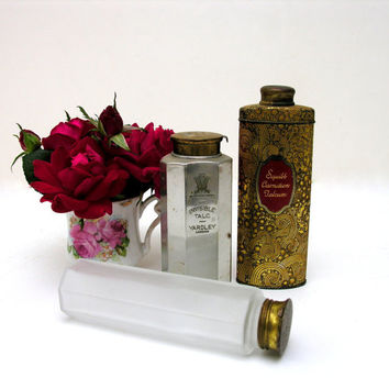 Vintage Powder Tins Gold Silver Frosted Glass Talcum Yardley Invisible Squibb Carnation Talc Vanity Boudoir Instant Collection