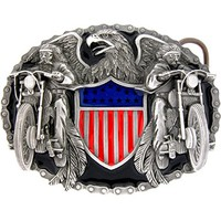 TWO BIKERS with AMERICAN SHIELD Belt Buckle