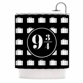"Jackie Rose ""Platform Between 9 3/4"" Black White Shower Curtain"