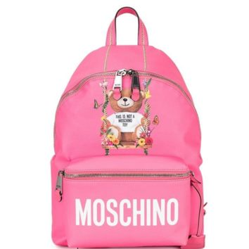 Moschino Fashion new bear floral letter print backpack bag Pink