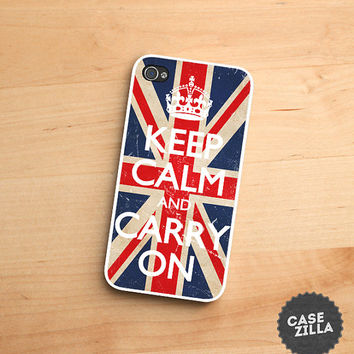 iPhone 5 Case Keep Calm and Carry On Crown UK Flag iPhone 5S Case, iPhone 4/4S Case, iPhone 5C Case
