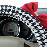 Black and White Herringbone Steering Wheel Cover by BeauFleurs