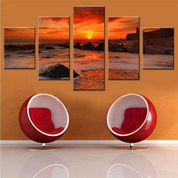 Canvas Painting 5 Piece Modern Wall Art Framework Landscape Sunset Beach Picture Modular Decorative Wall Pictures Living Room