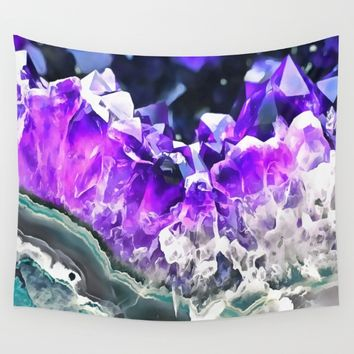 Purple Agate Crystal Wall Tapestry by CatyArte