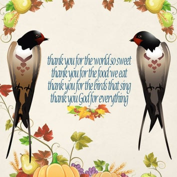Thanksgiving Image, Fall Swallow Image, Bird Image, Childs Prayer Quote, Poster Wall Art, Autumn Wall Décor, Family Room, Dining Room Décor
