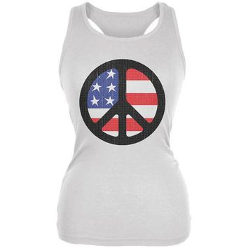 DCCKU3R 4th of July American Flag Peace Sign Distressed Halftone Juniors Soft Tank Top
