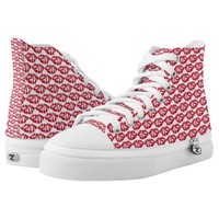 Kiss Pattern Red Lips Zipz High Top Shoes