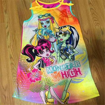 2017 New Girls Monster High Dress Kids Party Monster Dress Girls Clothing Ever After High Dress Girl Clothes of 6-14Y Birthday