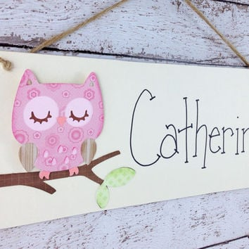 Personalized Sleeping Owl Kid's Door Sign or Bedroom Wall Decor