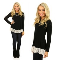 Really Love Ruffles Tunic in Black