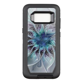 Flourish Abstract Modern Fractal Flower With Blue OtterBox Defender Samsung Galaxy S8 Case