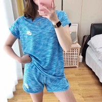 """NIKE"" Fashion Casual Letter Print Round Neck Short Sleeve Shorts Two-Piece Set  Sportswear"