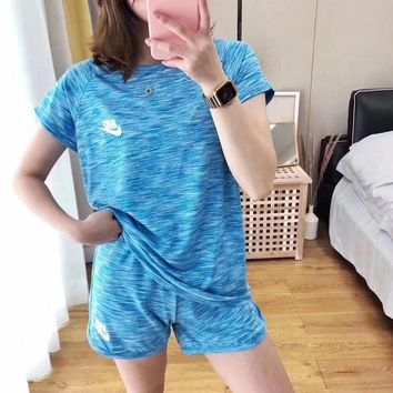 """""""NIKE"""" Fashion Casual Letter Print Round Neck Short Sleeve Shorts Two-Piece Set  Sportswear"""