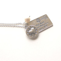 Love letter envelope pendant, round heart charm and white pearl silver necklace